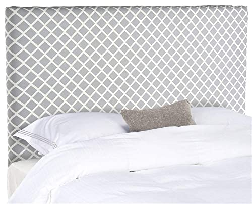 Safavieh Sydney Grey White Lattice Upholstered Headboard King