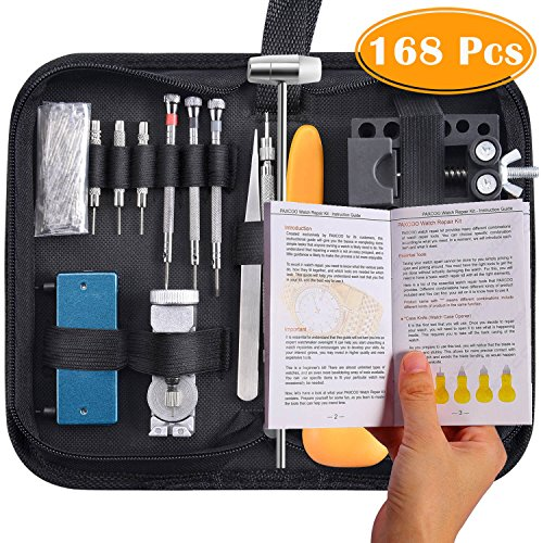 Paxcoo 168 Pcs Watch Repair Tools Kit Professional Watch Opener Spring Bar Tool Watch Band Link Pin Back Remover Tool with Carrying Case by PAXCOO