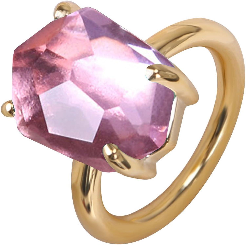 KELITCH Joyería Mujeres Cristal Piedra Preciosa Anillo - 18k Oro/Rosa Oro/Blanco Oro
