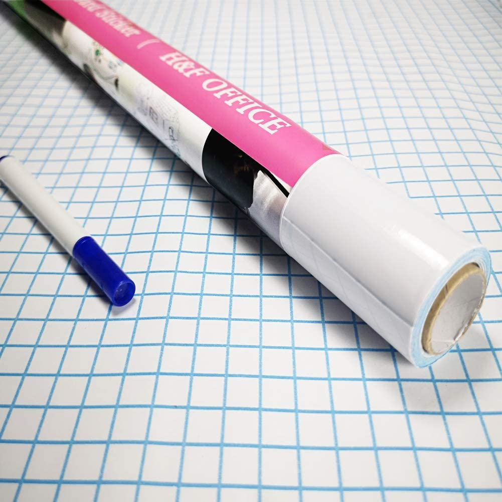 44.5 x 200cm Bricolage Mural Sticker Surface Effa/çable /à Sec Autocollant Auto-Adh/ésif pour Bureau//Maison//L/école//Magasin//Restaurants//R/éfrig/érateur//Travail avec 1 Stylo Rouleau Tableau Blanc Adhesif