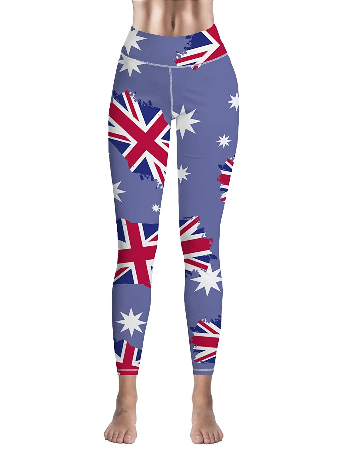 Eelivero Women High Waisted Leggings Independence Day American Flag Black and White