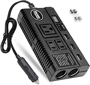 Car Power Inverter 120W 12V 24V DC to 110V AC 4 USB Ports Car Charger Adapter with 3 AC Outlets Dual Cigarette Lighter Charger + Digital LED Display for Phones Tablets PC Laptops (120W)