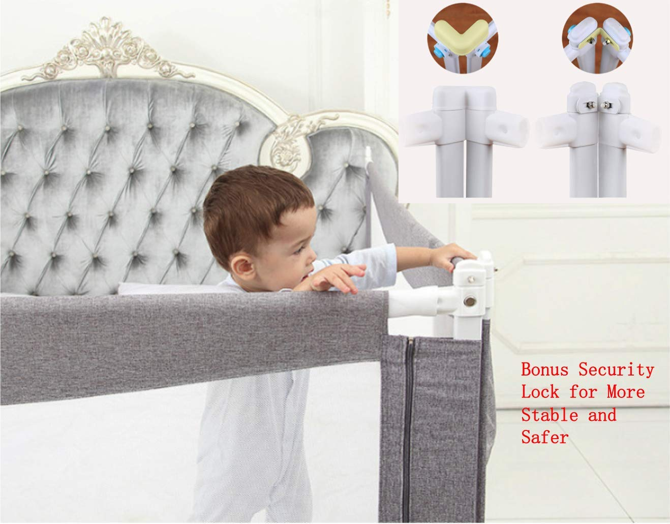 Goldenvalueable Bed Rail Guard Extra Long 80'' for Baby Toddlers and Kids (Grey) (One Side)