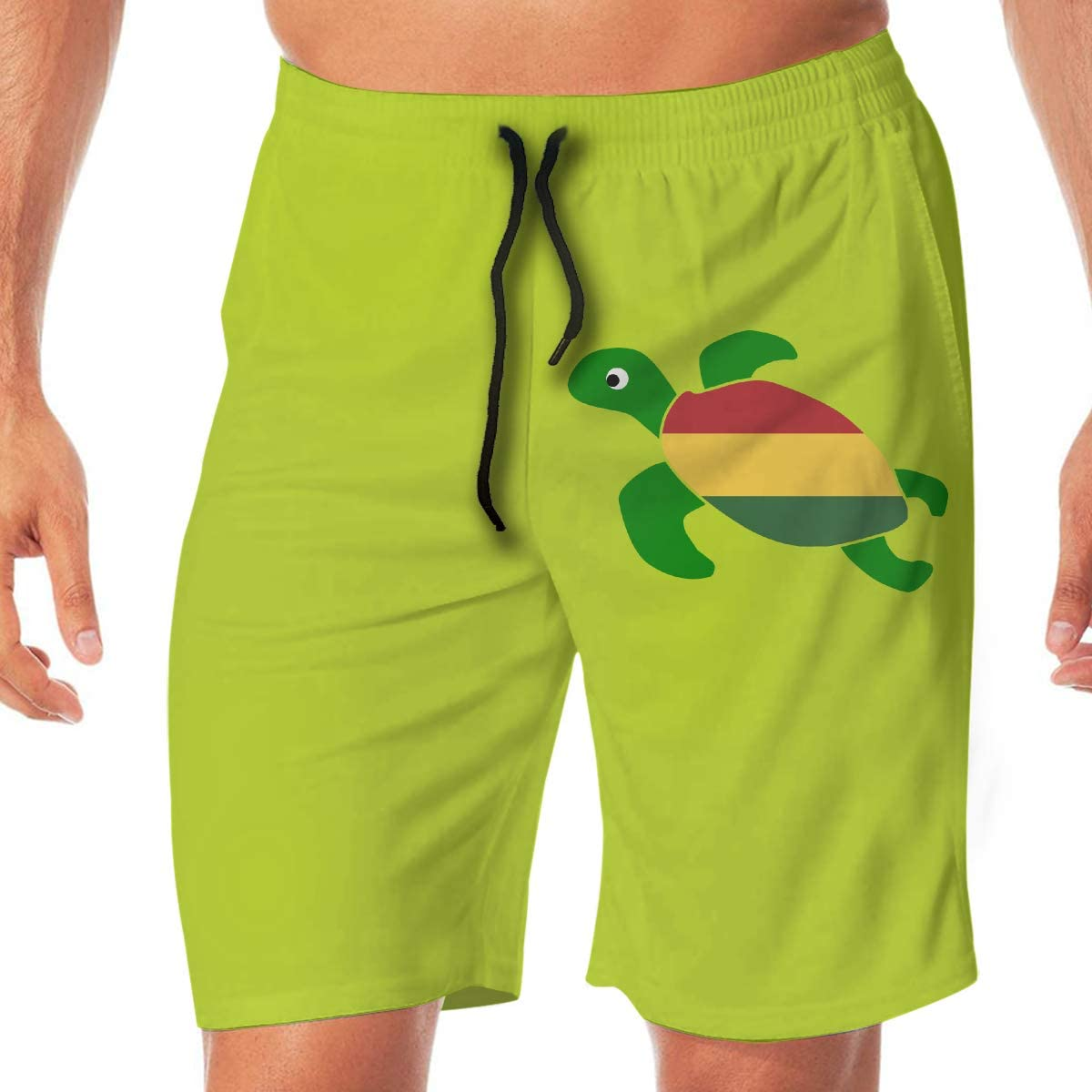 Mens Swim Suits Sea Turtle Rasta Flag Lightweight Beach Boardshort Adults Boys