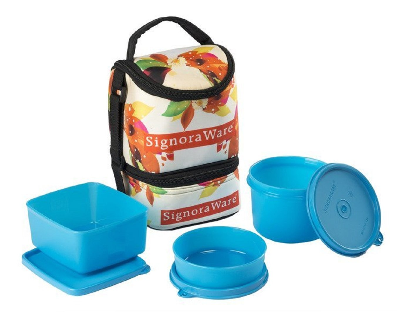 Signoraware Blossom Trio Lunch Box with Bag Set, 3-Pieces, Blue