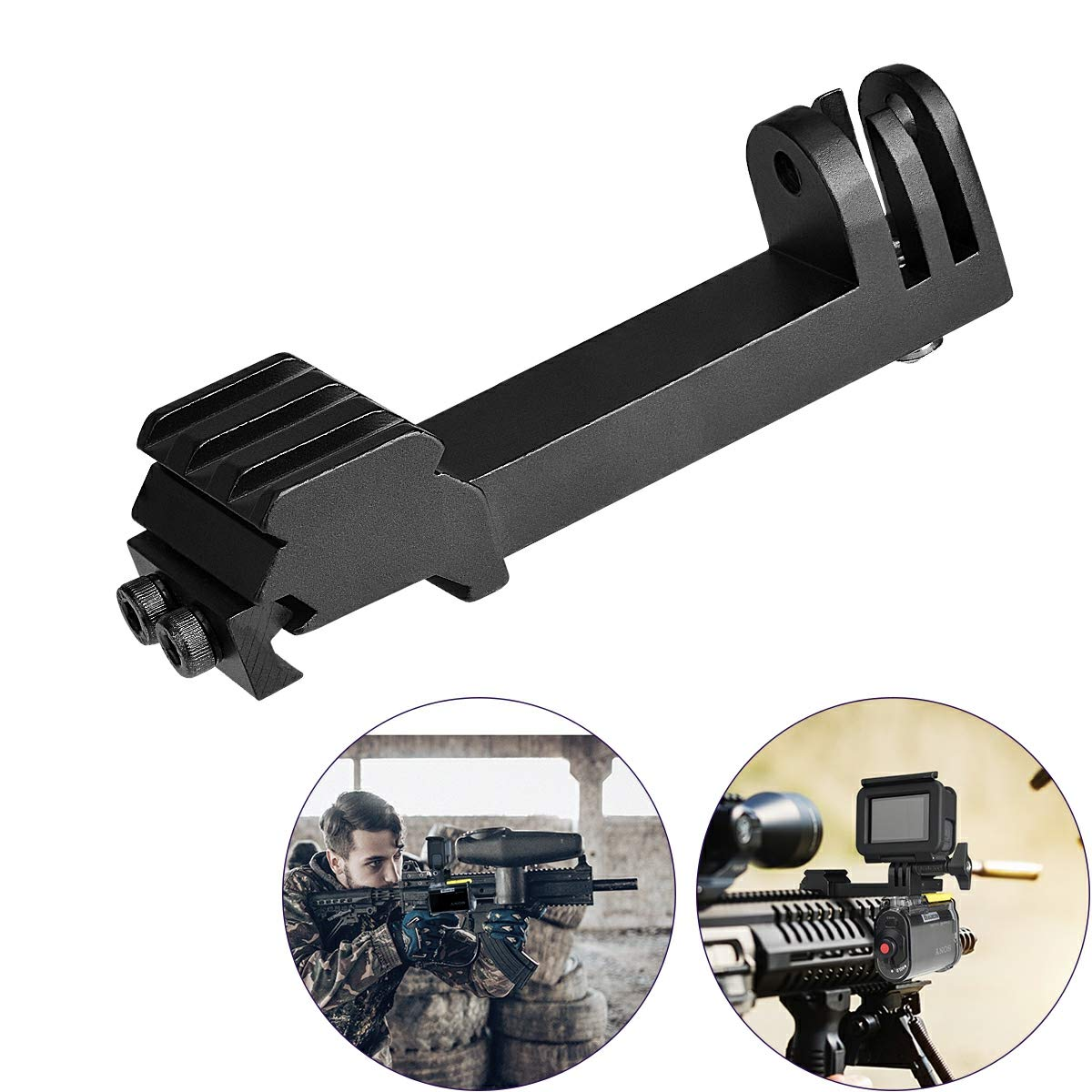 2in1 Action Camera Gun Mount, Picatinny Rail Adapter Compatible for Gopro Hero 7/ 6/ 5/ 4/ 3+/ 3/ Session Sony Sports Camera and Other Cameras for Hunting Gun Shotgun Airsoft Gun Air Rifle Pistol Carbine Gun & More Victool VTG-1705EU-T1