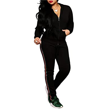 520d9cc2 2 Piece Outfits Tracksuit Stripe Zip up Jacket + Sweatpants Sweatsuits  Black M