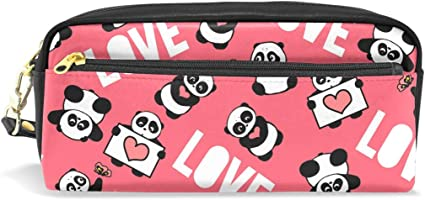 Love Animal Panda Estuche Estuche Portatodo Estuche Bolsa de Cuero con Compartimentos para Niños Escolar Mujeres Cosméticos Bolsas Pequeñas: Amazon.es: Oficina y papelería