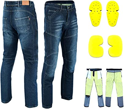 VASTER Men Motorcycle Jeans Motorbike Protective Pants Reinforced Denim Trousers Lined Protective CE Approved Hip /& Knee Removable Armored Modern-Fit Blue//Black Denim