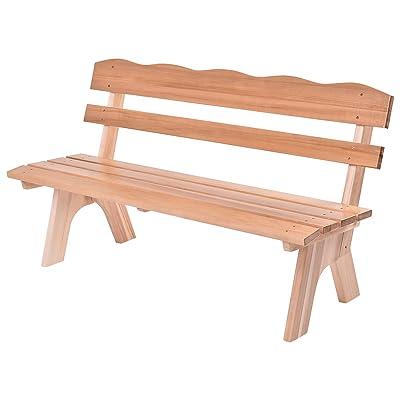 Merveilleux Allblessings 5Ft. 3 Seats Patio Garden Bench Chair Natural Wood Frame Yard  Deck Furniture Outdoor
