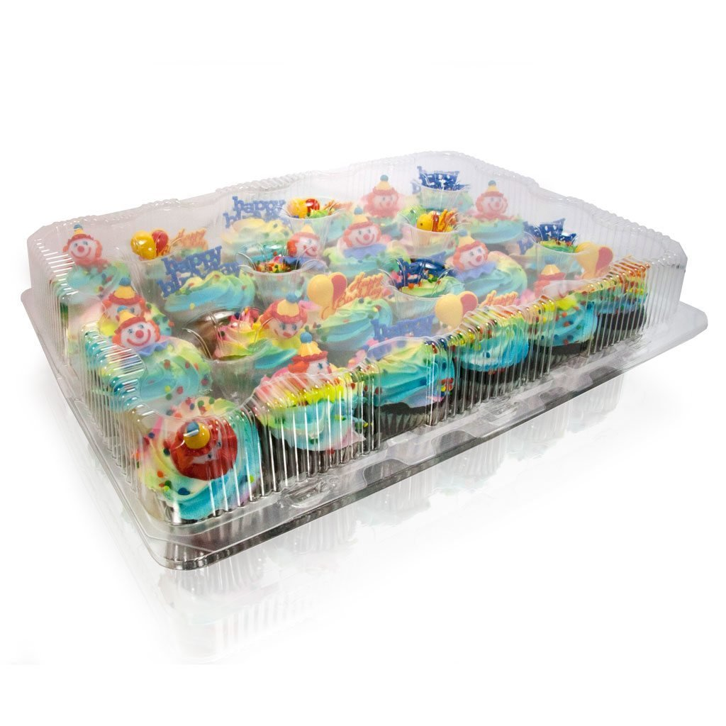 Cupcake and Muffin Containers with Superior Hinged Lid, Clear 12-Compartment, Strong and Sturdy, BPA Free, crystal Clear Plastic,( pack of 32) by The Bakers Pantry (Image #8)