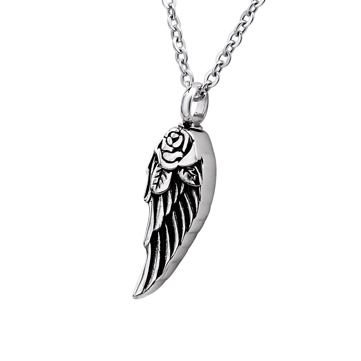 Bluesnow Angel's Wings Urn Keepsake Pendant Necklace, Stainless Steel Memorial Ash Cremation Jewelry B0A0A39SZ