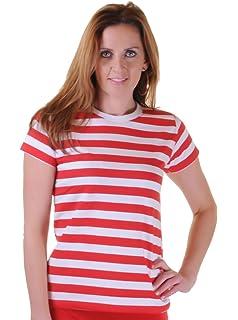 7f53d18b8d Déguisement T-shirt rayé en rouge et blanc avec lunettes et chapeau pour  filles et