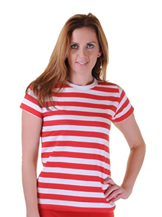 dcd9bcf658 GIRLS LADIES RED AND WHITE STRIPED T-SHIRT HAT GLASSES FANCY DRESS COSTUME:  Amazon.co.uk: Clothing
