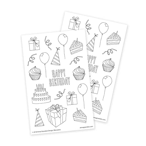 Amazon.com: Happy Birthday Coloring Stickers For Party Favors, Gift  Wrapping Or DIY Greeting Cards, 2 Sheets: Handmade