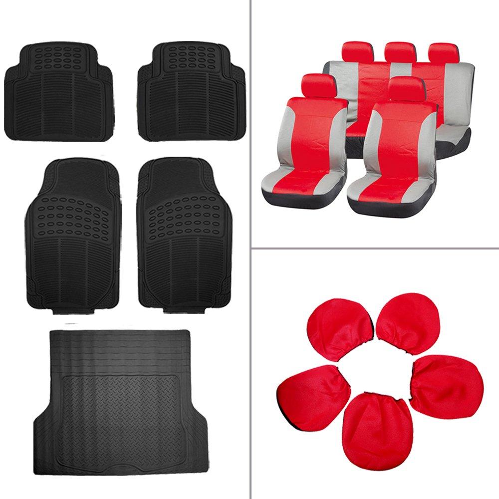 ECCPP Gray/Red Car Seat Covers 5Pcs Car Floor Mats W/Trunk Liner Breathable fit Heavy Duty Vans Trucks(14pcs)