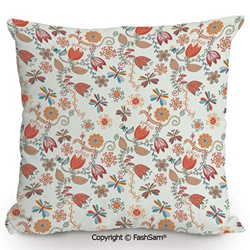 (FashSam Throw Pillow Covers Cute Tulip Floral Blossom Ornate Pattern with Butterflies Artsy Illustration Decorative for Couch Sofa Home Decor(16