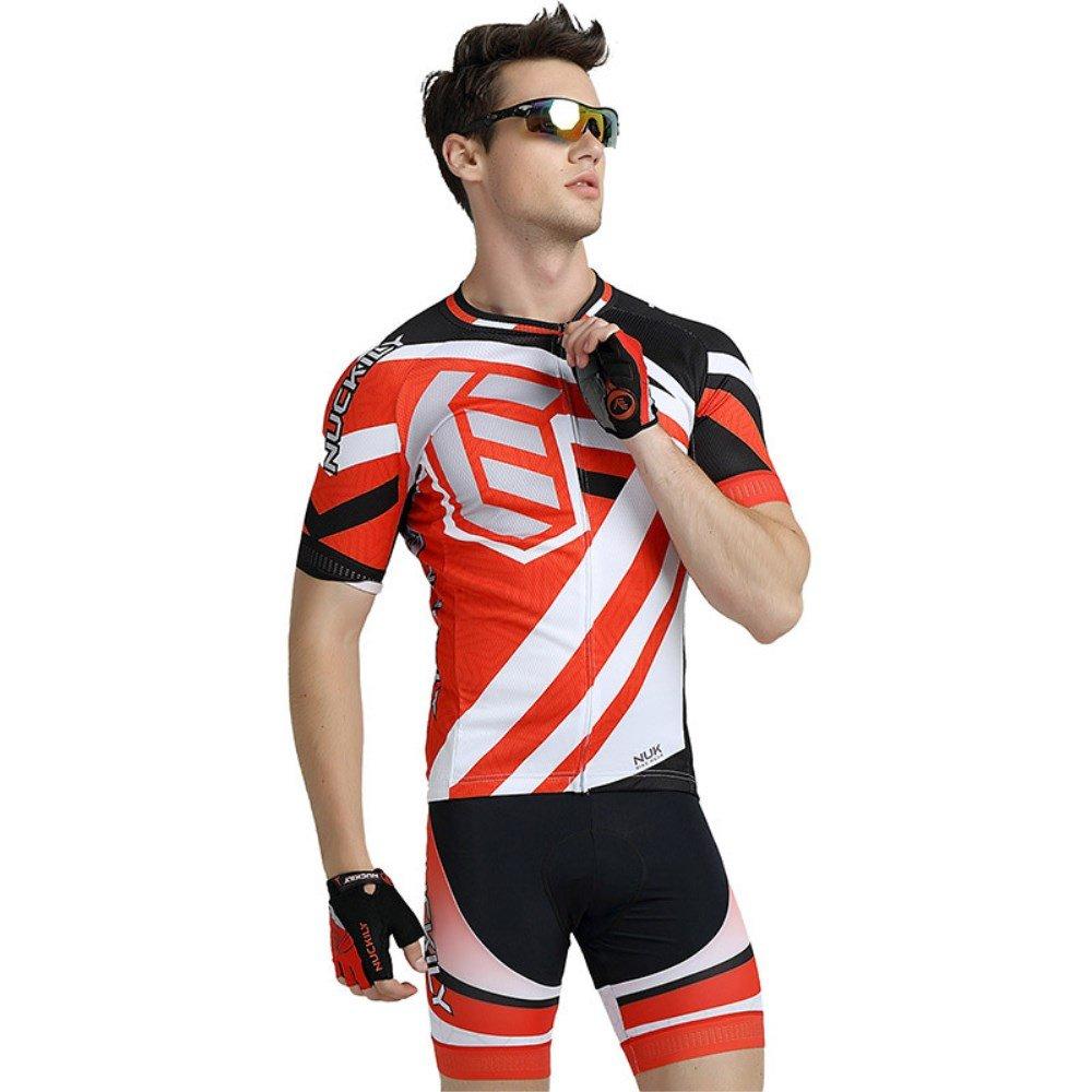 MYLEDI Herren Fahrrad Kurzarm-Anzug Atmungsaktiv Weich Komfortable Schweißabsorbierend Rutschfeste Sportnutzung,ROT+Weiß,S
