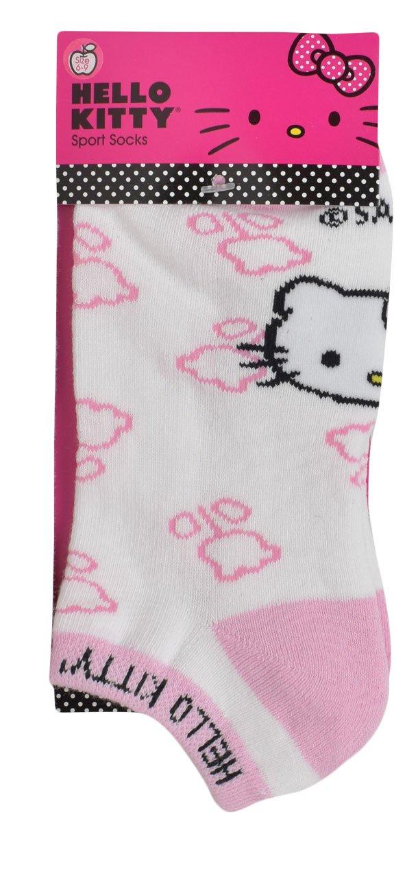 Hello Kitty Sports Women's Terry Bottom Flower Design Socks, White/Pink, Medium