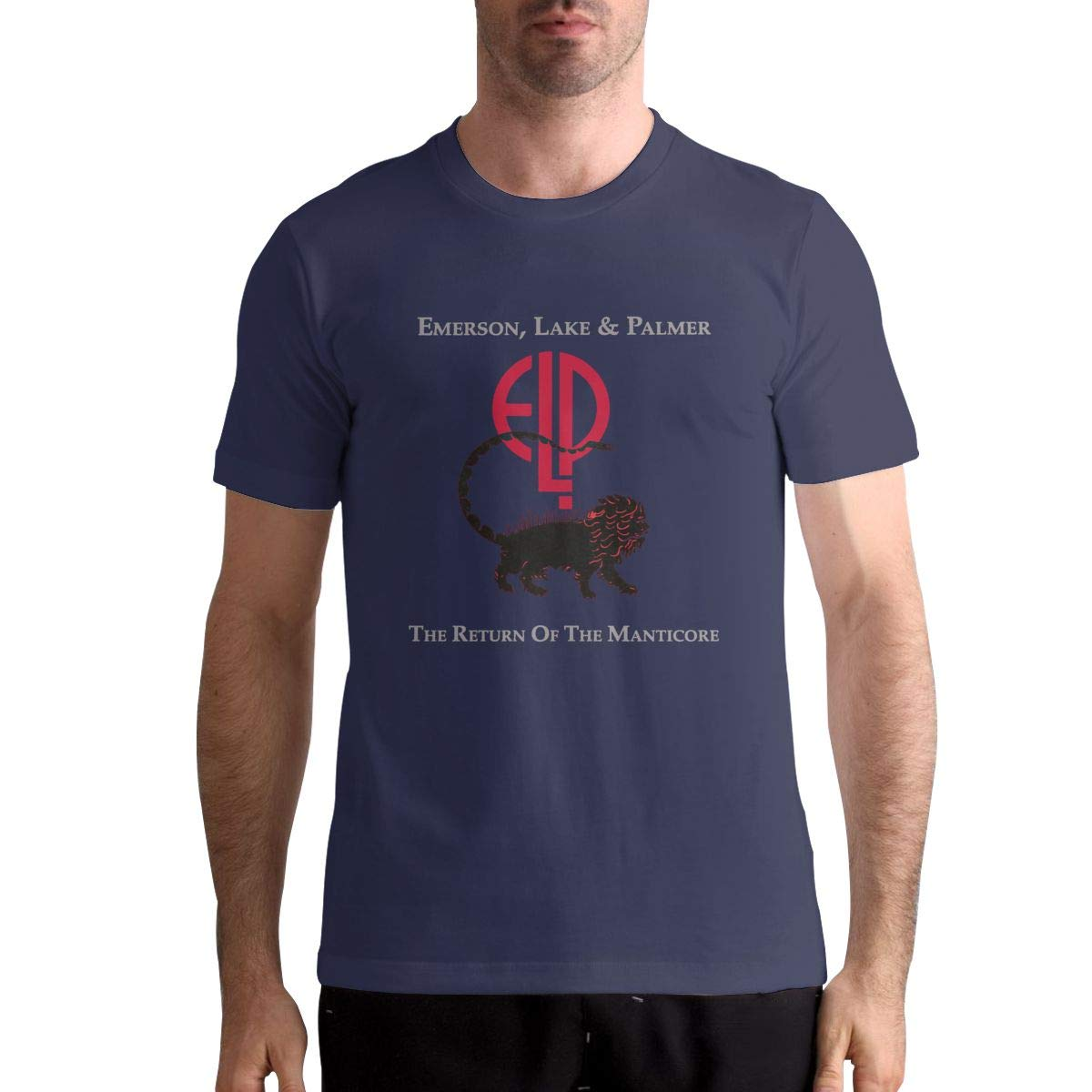 Emerson Lake and Palmer Mens T-Shirt Cool in Summer Short Sleeve Tee Breathable Fashion Leisure Black