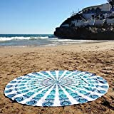 GLOBUS CHOICE INC.. Blue Turquoise Tapestry Round Cotton Indian Tapestry Mandala Roundies Beach Throw Indian Round Blue Mandala Tapestry Yoga Mat Picnic Mat Table Throw Hippy Boho Gypsy