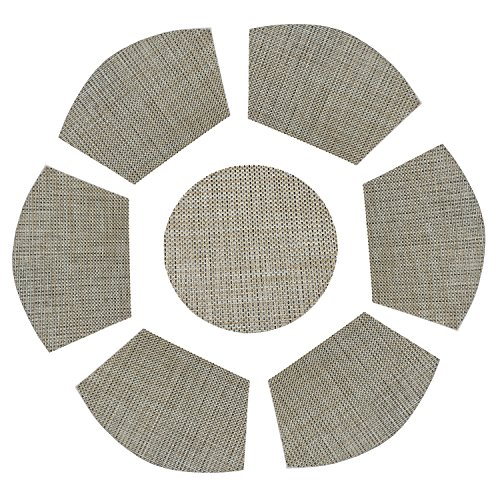 PAUWER Round Table Wedge Shaped Placemats Set of 6 Plus Center Round Placemats For kitchen Table Heat Insulation Stain-resistant Washable Place Mat Woven Vinyl Placemats (7, Beige+Green)