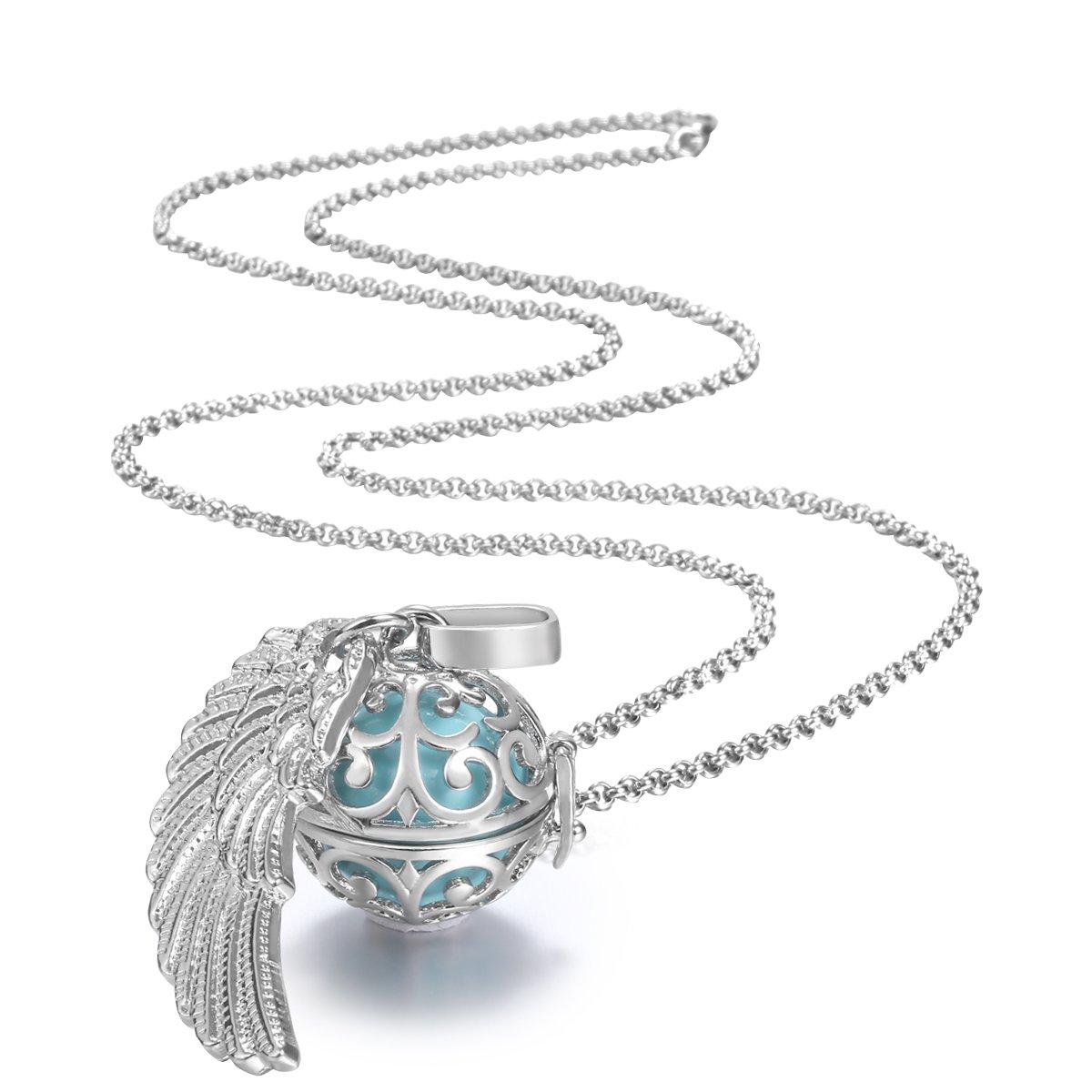 Collar y colgante llamador de ángeles para embarazo, bola mexicana y ala de plumas, 76 cm (bola color cian): Amazon.es: Joyería