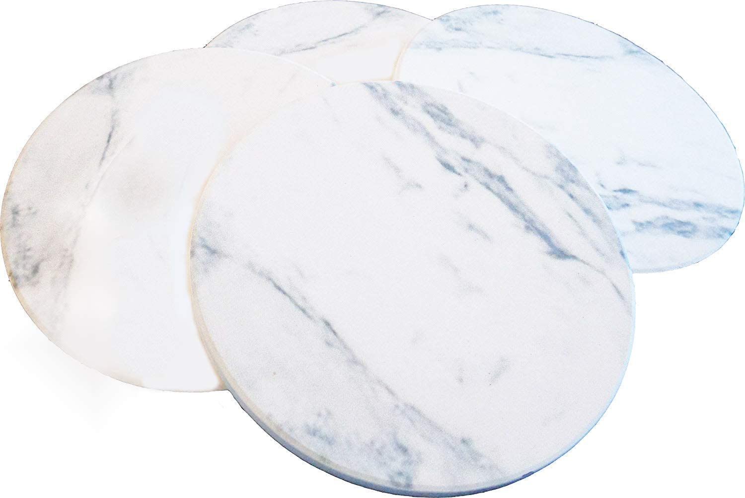 COASTERS FOR DRINKS ABSORBENT - Faux Marble Ceramic Coasters, Set of 4, Coasters for Drinks, Stone Coasters, Table Coaster Set with Cork Backing by Ovation Home (Marble Design)