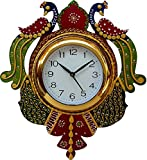 Jaipurcrafts New Arrival Wooden Peacock Emboss Painting Wall Clock ( Multi Color ) ( 12 X 14 Inches)