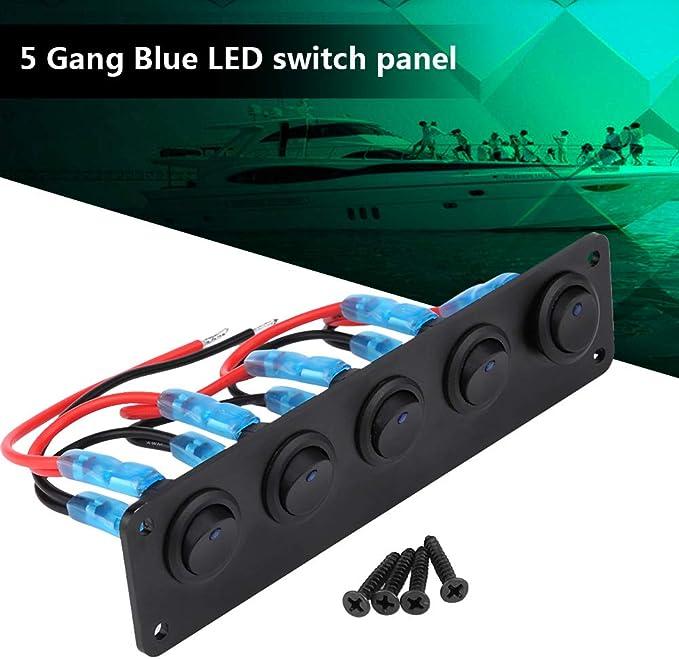 12 24v Led Panel 5 Gang Rocker Switch Panel Wippschalter Panel Auto Marine Led Kippschalter Panel Auto