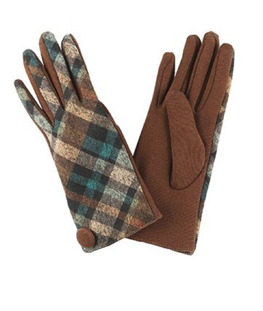 RI001 Plaid and Brown Fleece Lined Gloves