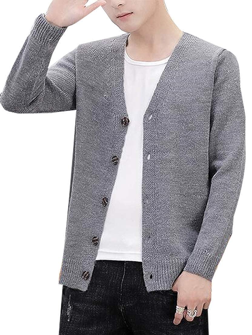 Alion Mens Fashion Plus Size Cotton V Neck Button Fine Knit Cardigan