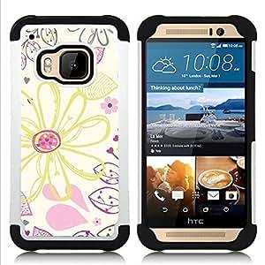 """HTC One M9 /M9s / One Hima - 3 en 1 impreso colorido de Altas Prestaciones PC Funda chaqueta Negro cubierta gel silicona suave (Dibujo Wallpaper Crayon Arte"""")"""