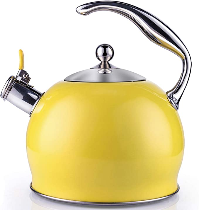Whistling Kettle Stainless Steel 3 Liter Stovetop Induction with Soft Touch Silicone Handle Blue