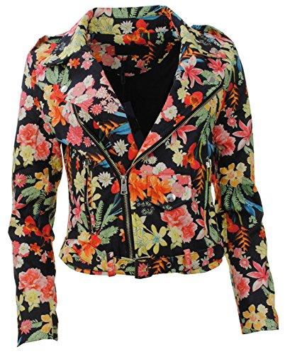 Zip femme Manteau Nouvelle Multi Plaine culotte Floral Rouge Suede Veste Faux Biker ou mesdames Pw0qw