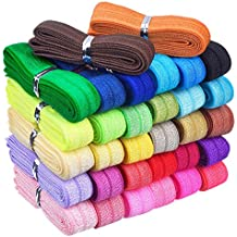 Mudder 32 Yards Ribbon Elastic Foldover Elastics Stretch Hair Ties Headbands for Baby Girls Hair Bow, 32 Colors, 1 Yard Each One