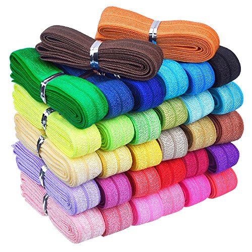 Mudder 32 Yards Ribbon Elastic Foldover Elastics Stretch Hair Ties Headbands for Baby Girls Hair Bow, 32 Colors, 1 Yard Each One ()