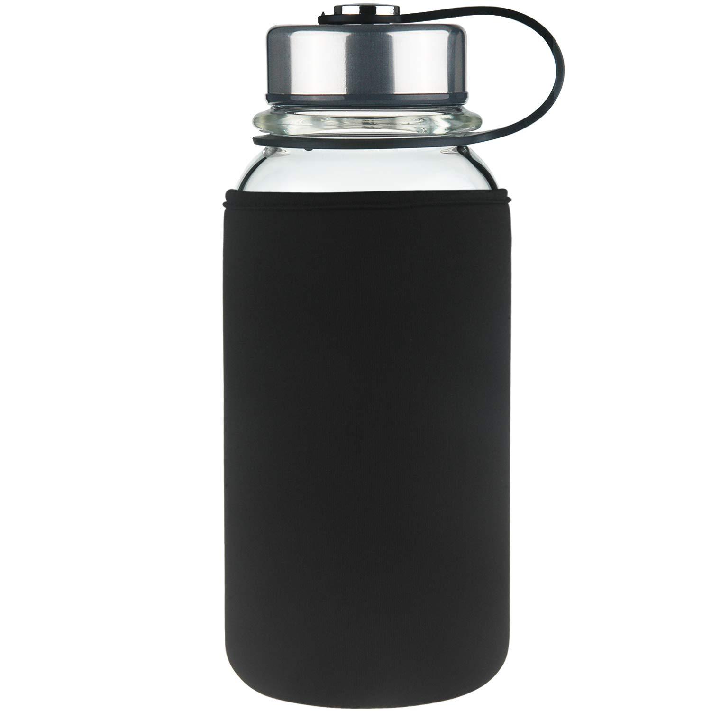 Cleesmil Glass Water Bottle with Neoprene Sleeve,BPA Free,Leak Proof 20 oz or 32 oz