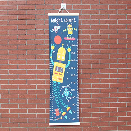 Panda_mall Baby Height Growth Chart Ruler Kids Roll-up Canvas Height Chart Removable Wall Hanging Measurement Chart Wall Decoration with Wood Frame for Boys Girls Kids Room(Robot) by Panda_mall (Image #7)