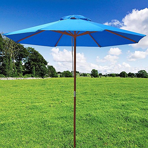 9f240e11ed Yescom 9ft Wooden Outdoor Patio Blue Umbrella W/ Pulley Market ...