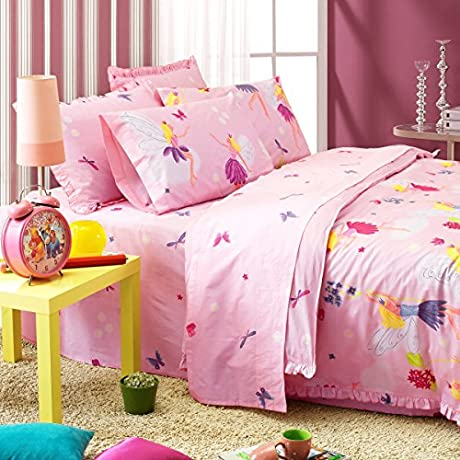 Auvoau Flower Fairy Butterfly Pattern Pink Background Kids Girls Bedding Sets Full 5pc With Comforter