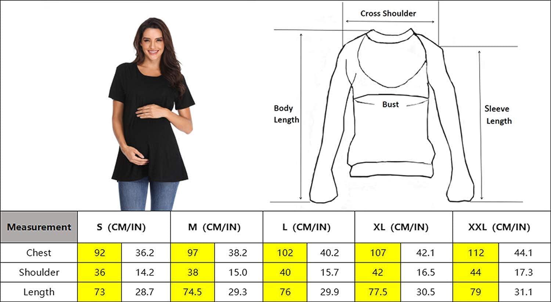 Giorzio Women Maternity Nursing Tee Shirt Short Sleeve Double Layer Breastfeeding Tops S-XXL