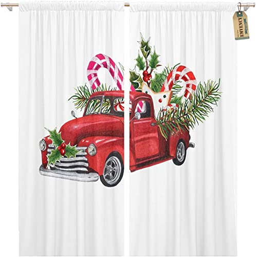 Emvency 104 x 96 Inch Decorative Drapes Watercolor Christmas Toy Model Truck Loaded Sweets Spruce Twigs Holly Leaves 2 Panels Window Curtain
