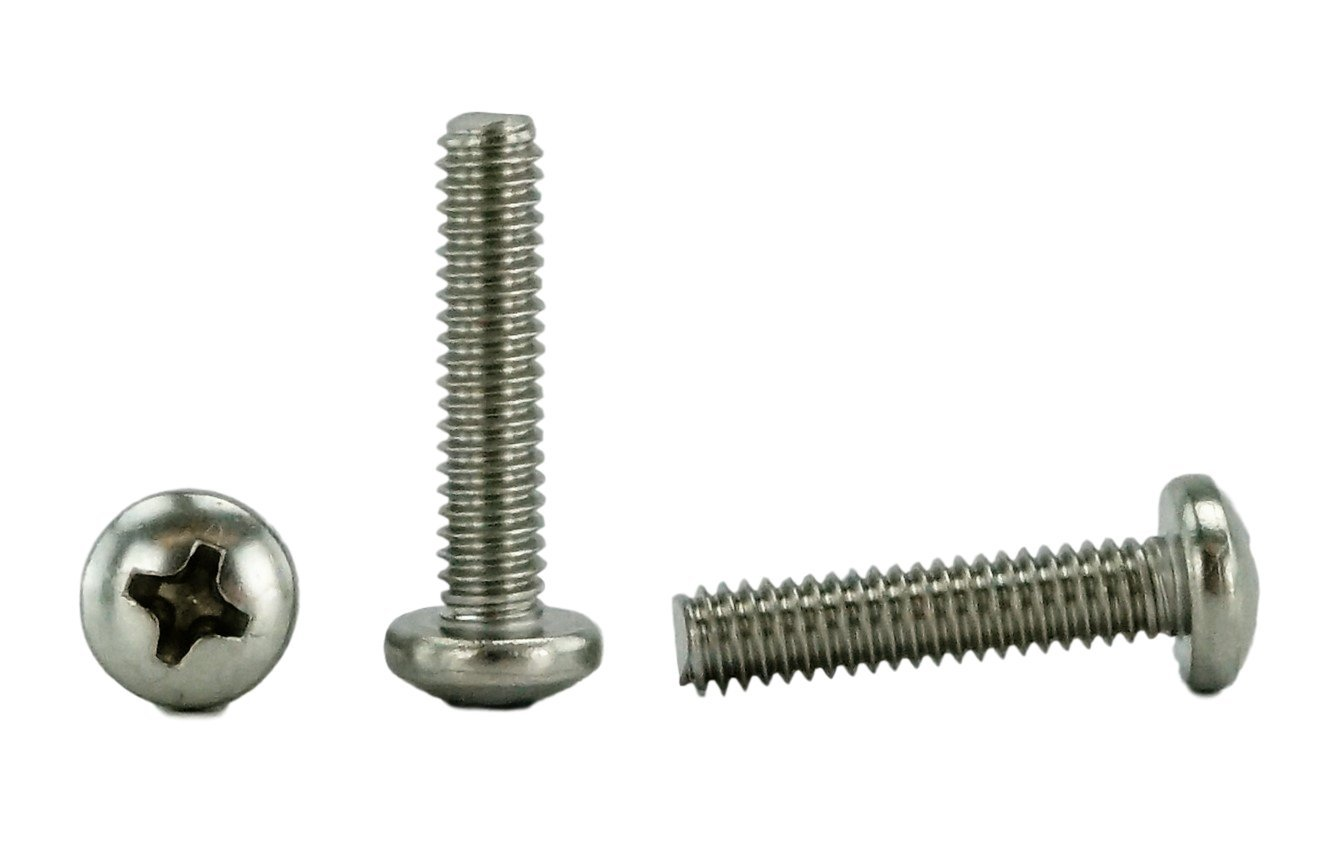 "Stainless 8-32 x 3/4"" (3/8 to 3"" Lengths Available) Pan Head Machine Screws, Full Thread, Phillips Drive, Stainless Steel 18-8, Machine Thread (100 pcs, 8-32 x 3/4)"