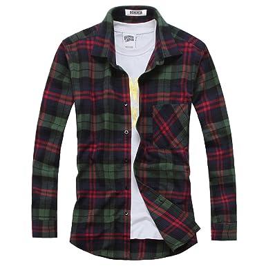 OCHENTA Hemden Herren Langarm Plaid Flanellhemd N024 Gruen Rot EU S (Asien  L)