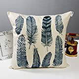 Happytimelol 18 x 18 Cotton Linen Throw Pillow Case Cover (3D Feather Style 4)