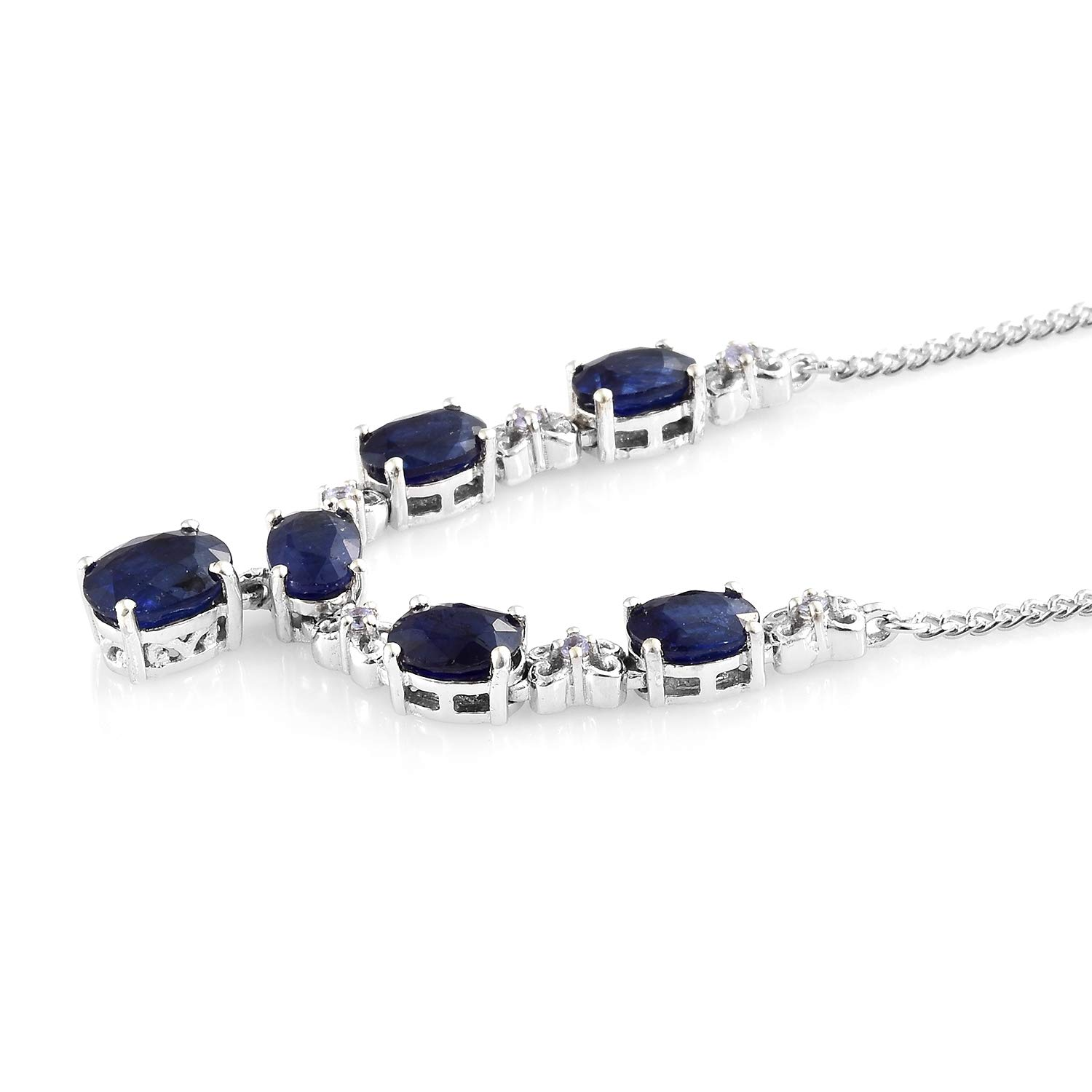 75f45cffd86d Amazon.com  925 Sterling Silver Platinum Plated Oval Sapphire Necklace for Women  18
