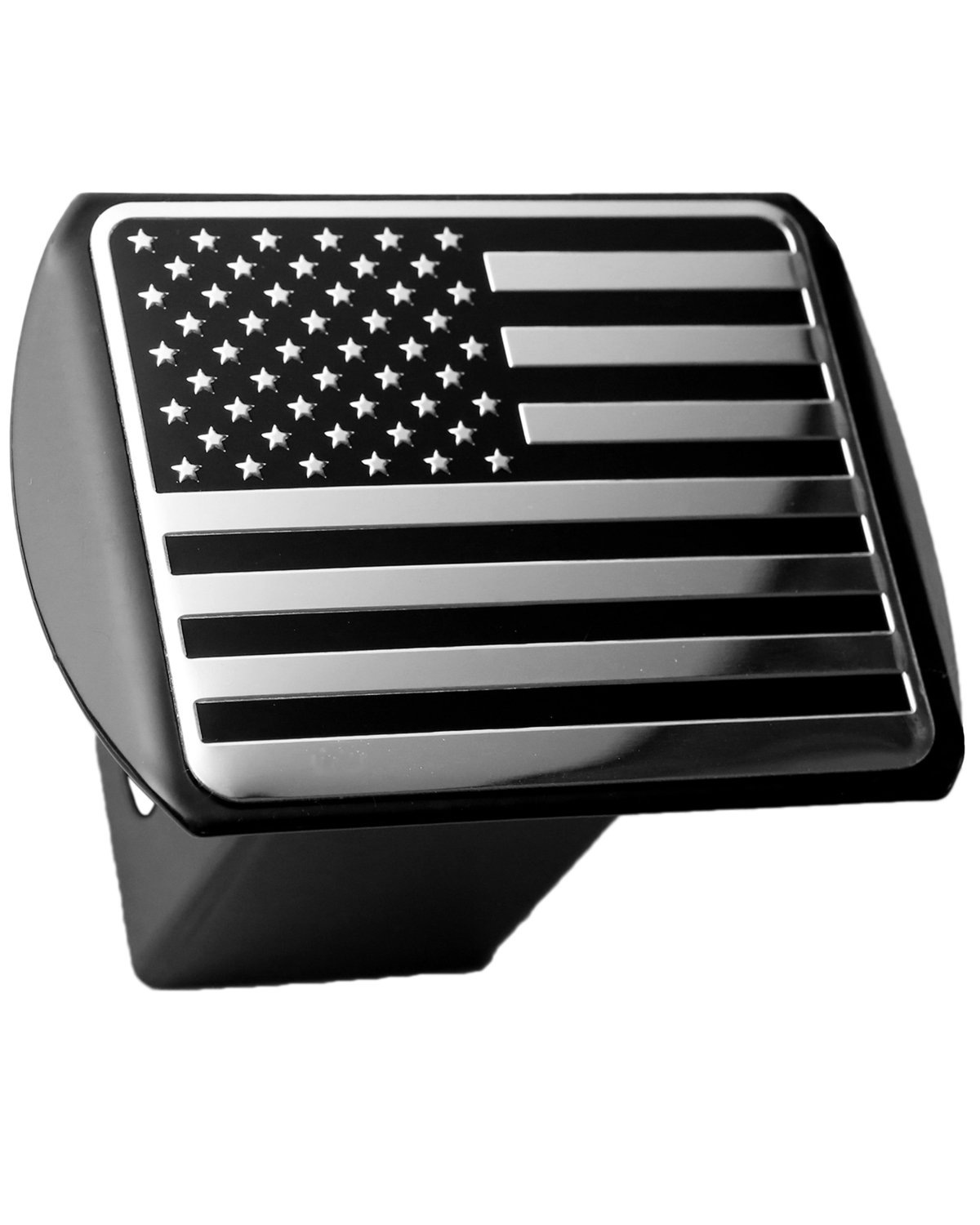 LFPartS USA US American Flag 3d Chrome Emblem on Black Trailer Metal Hitch Cover Fits 2'' Receivers by LFPartS