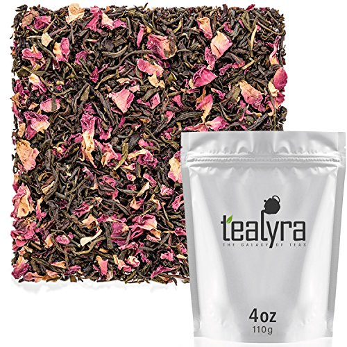 (Tealyra - Rosy Earl Grey - Black Tea from Sri Lanka with Jasmine Green Tea and Rose Petals - Fresh Award Winning Tea - Loose Leaf Tea - Medium Caffeine - 110g (4-ounce))
