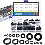 Glarks 640Pcs Metric Flat Washers and Split Lock Washers Assortment Set for M2 M2.5 M3 M4 M5 M6 M8 M10 Screws Bolt, Black Zinc Plated Alloy